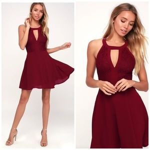 Lulu's Dresses - Lulu's Ready To Party Wine Red Lace Skater Dress